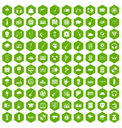 100 music festival icons hexagon green vector