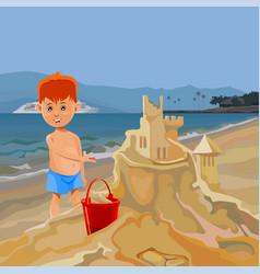 Cartoon boy building sand castle on tropical beach vector