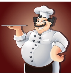 Smiling chef with plate vector