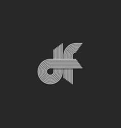 Logo monogram df letters lowercase combination vector