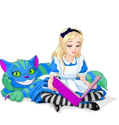 Alice and cheshire cat vector