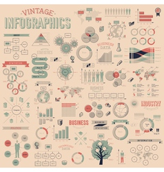 Vintage infographics with data icons vector