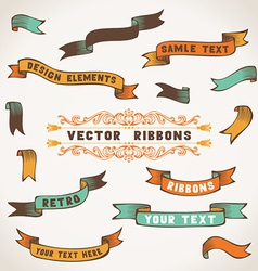 Set of color retro ribbons for your design vector