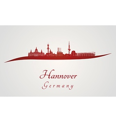 Hannover skyline in red vector