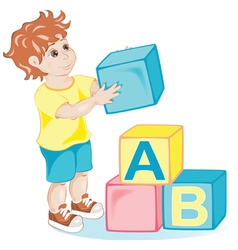 Boy with cubes vector