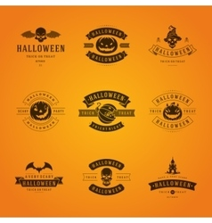 Halloween Badges and Labels Greetings Cards vector image