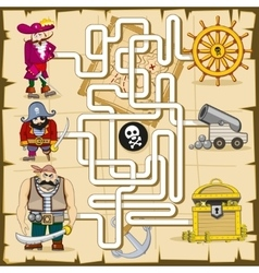 Maze with pirates game for kids vector