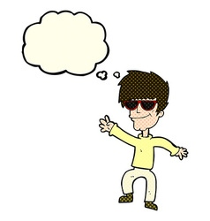 Cartoon waving cool guy with thought bubble vector