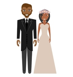 Afro american groom and bride suits wedding vector