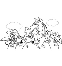 animals group farm bw m vector image vector image