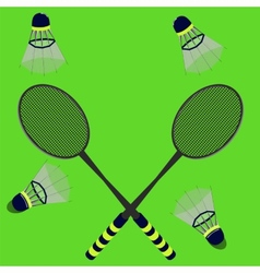 badminton rackets and shuttlecocks vector image vector image