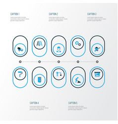 Building colorful icons set collection of worker vector