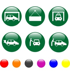 car service green icon shiny button vector image