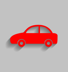 Car sign red icon with soft vector