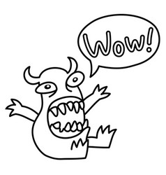 Cartoon monster screaming wow speech bubble vector