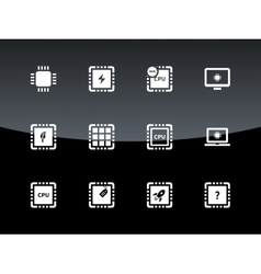 Computer cpu and microchip icons on black vector