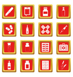 Different drugs icons set red vector