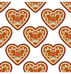 Gingerbread hearts seamless pattern background vector image vector image