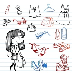 Girl of fashion doodle set vector