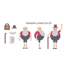 grandpa character set in poses for animation vector image vector image