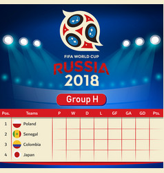 Group h qualifier table russia 2018 world cup vect vector