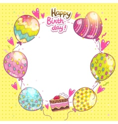 Happy Birthday background with cake and balloons vector image vector image