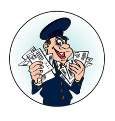 Jolly postman in the blue cap with the letters in vector