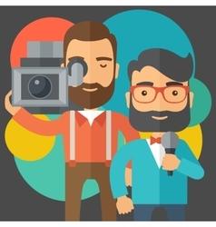 Jourmalist and news reporter vector