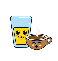 Kawaii happy glass juice and coffee cup vector