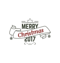 Merry christmas 2017 typography wish sign vector