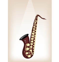 Musical Tenor Saxophone on Brown Stage Background vector image vector image