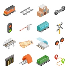 Railroad isometric 3d icons vector image vector image