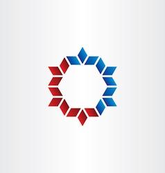Red blue hexagon frame element design vector