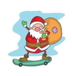 Santa claus with skate board vector