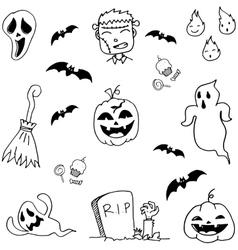 Scary halloween doodle set vector