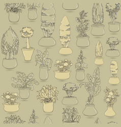 seamless pattern with black doodle house plants i vector image vector image