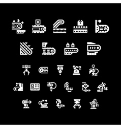 Set icons of conveyor and robotic industry vector
