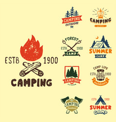 set of vintage woods camp badges and travel logo vector image