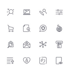 set with different icons in modern style vector image vector image