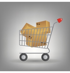 shopping cart with boxes icon vector image vector image