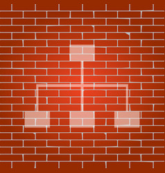 site map sign whitish icon on brick wall vector image vector image