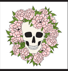 skull with pink flowers on a white background vector image