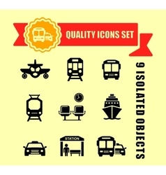 Transport icons with red tape vector