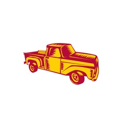 Vintage Pick Up Truck Woodcut vector image vector image