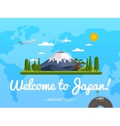Welcome to Japan poster with famous attraction vector image vector image