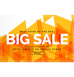 Yellow abstract big sale banner or voucher design vector