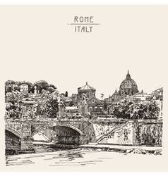 Sketch drawing of rome italy cityscape type of vector