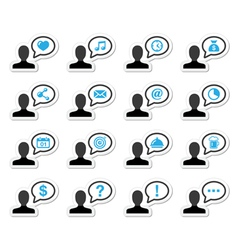 User man icon labels set for website vector image