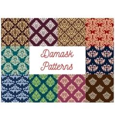 Damask floral seamless patterns set vector