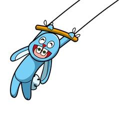 Blue rabbit show vector image
